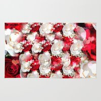 wedding Area & Throw Rugs featuring Wedding Roses by MehrFarbeimLeben