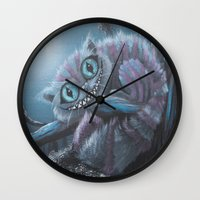 cheshire cat Wall Clocks featuring Cheshire Cat by Annelies202