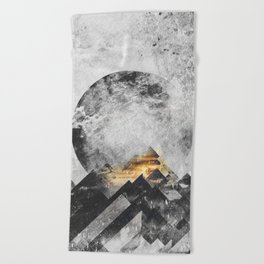 One mountain at a time - Black and white Beach Towel