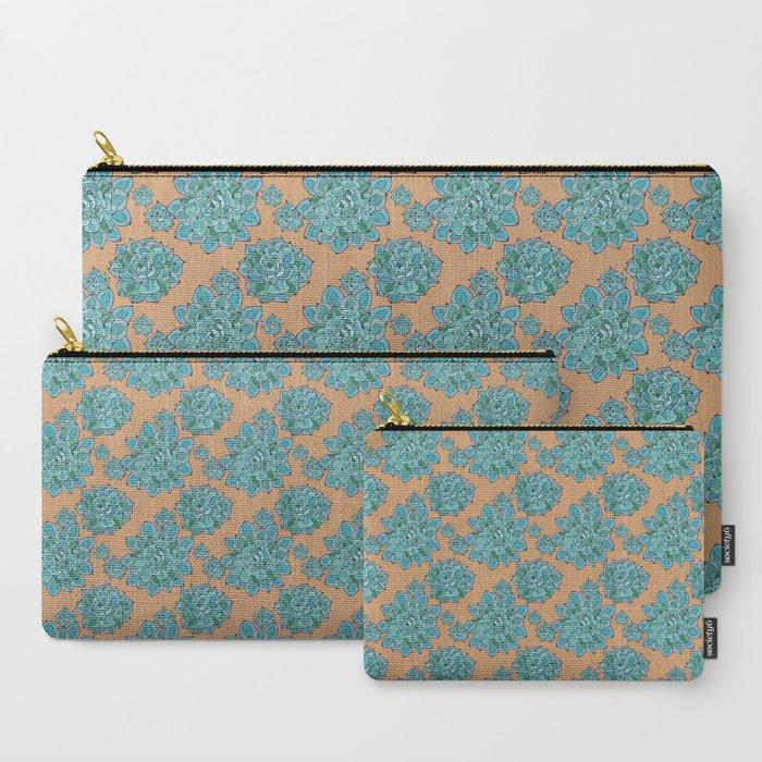 Echeveria Succulent Pattern Carry-All Pouch