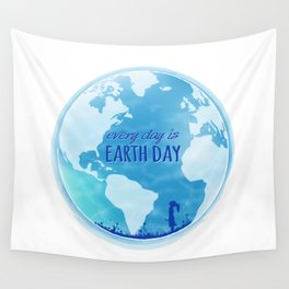 Every Day Is Earth Day - Blue 04 Wall Tapestry
