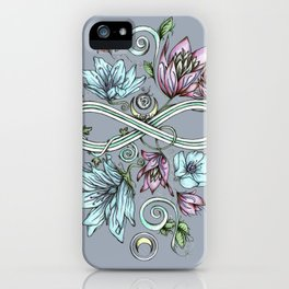 Infinity Floral Moon Garden in Gray iPhone Case