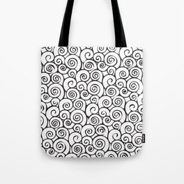 Modern Black and White Abstract Swirly Pattern Tote Bag