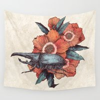 beetle Wall Tapestries featuring Hercules Beetle by Angela Rizza
