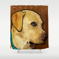 labrador Shower Curtains featuring Labrador Retriever by Ed Pires