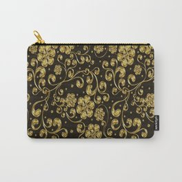Gold Metallic Floral on Black Carry-All Pouch