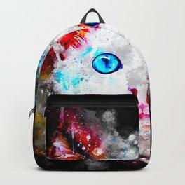 cute cat blue eyes splatter watercolor Backpack