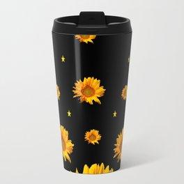 GOLDEN STARS YELLOW SUNFLOWERS  BLACK COLOR Travel Mug
