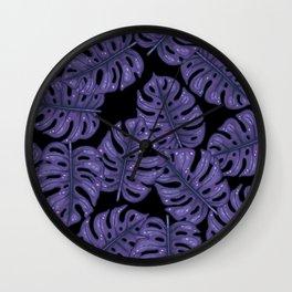 Ultra violet monstera Wall Clock