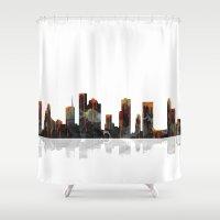 houston Shower Curtains featuring Houston Texas Skyline BW1 by Marlene Watson