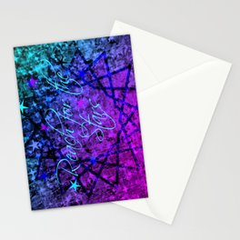 REACH FOR THE STARS Bold Midnight Blue Purple, Galactic Stars Space Abstract Fine Art Painting Stationery Cards