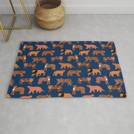 Big Cats pattern - leopard, cougar, tiger, lion, cats safari art, navy tiger, orange tigers, tiger art, animals art Rug