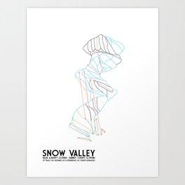 Snow Valley, CA - Minimalist Trail Maps Art Print