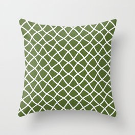 Olive green and white curved grid pattern Throw Pillow