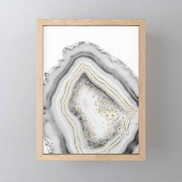 White Agate Gold Foil Glam #1 #gem #decor #art #society6 Framed Mini Art Print