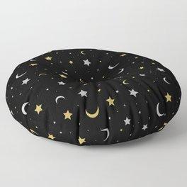 Starry Night Moon and Stars Galaxy Floor Pillow