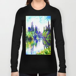 Claude Monet - Morning on the Seine, near Vetheuil 1878 Long Sleeve T-shirt