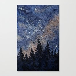 Pine trees and galaxies watercolor Canvas Print