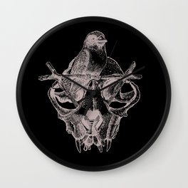 Mr. Sparrow and the cat's skull Wall Clock