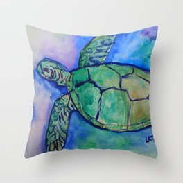 Sea Turtle Watercolor Painting Throw Pillow
