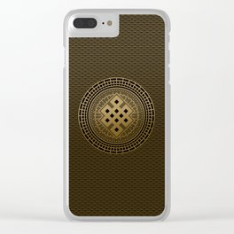 Gold Endless Knot  in Mandala Decorative Shape Clear iPhone Case