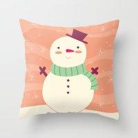 snowman Throw Pillows featuring Snowman by Claire Lordon