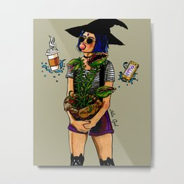 Inktober Potted Plant Witch Metal Print