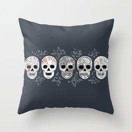 Celebracion de Gris_Calaveras Sugar Skulls line_RobinPickens Throw Pillow