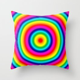 Psychedelic Rainbow Circles Pattern  Throw Pillow