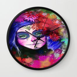 Day of the Dead Pink Flowers Wall Clock