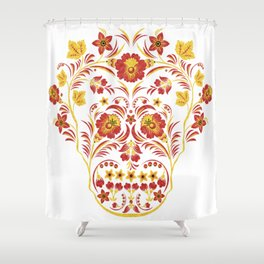 Skull Khokhloma Shower Curtain