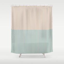 Color Block Lines XX Vintage Seafoam Shower Curtain