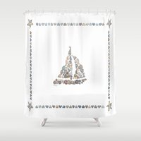 sailboat Shower Curtains featuring Sailboat by loverocksme