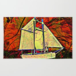 Red Dawn Sailboat  Rug
