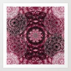 Claret Lace Mandalas Art Print