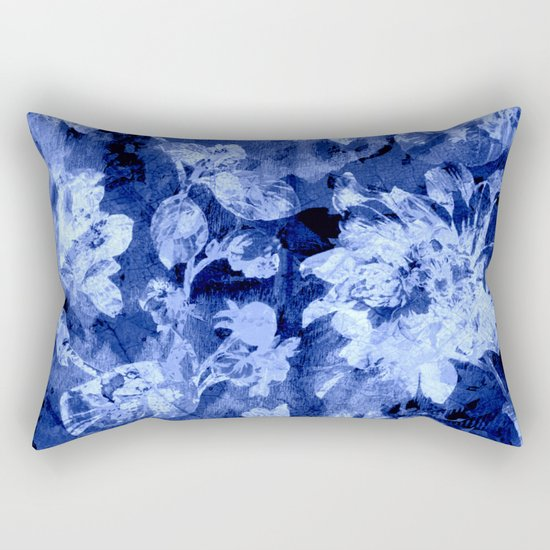 blue double floral Rectangular Pillow