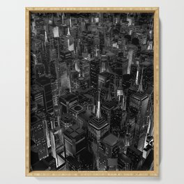 Night city glow B&W / 3D render of night time city lit from streets below in black and white Serving Tray