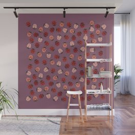 All over Modern Ladybug on Mauve Pink Background Wall Mural