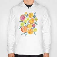 clockwork orange Hoodies featuring Sliced Citrus Watercolor by Cat Coquillette