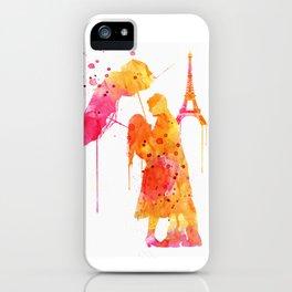 Watercolor Love Couple in Paris iPhone Case