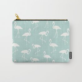 Flamingo Silhouettes, Pattern Of Flamingos - Blue Carry-All Pouch