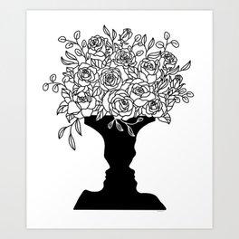 Faces Vase Love Talk Floral Line Art Graphic Design Art Print