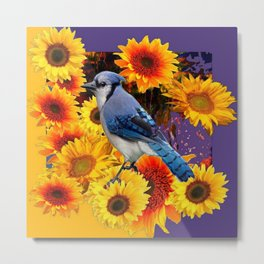 MODERN BLUE JAY &  SUNFLOWERS PURPLE ART Metal Print
