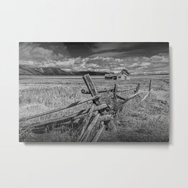 Black and White of Wood Fence with John Moulton Farm in the background on Mormon Row Metal Print