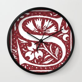 Floral Letter Type - Letter S Wall Clock