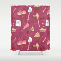 baking Shower Curtains featuring Shaking n' Baking by Valentina Cariel
