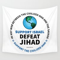 israel Wall Tapestries featuring Support Israel, Defeat Jihad by politics