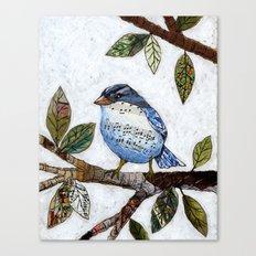 Original Art Painting Collage ... Songbird Canvas Print