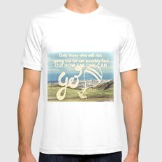 Adventure Quote, hot air balloon White MEDIUM Mens Fitted Tee