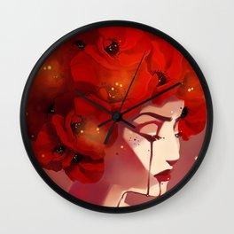 Red Poppy Girl Alternate Wall Clock